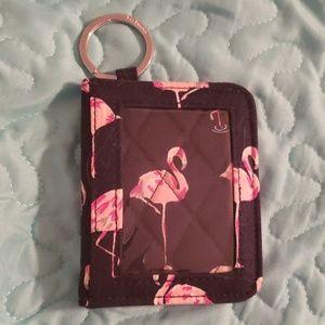 EUC Vera Bradley Flamingo Fiesta ID keychain